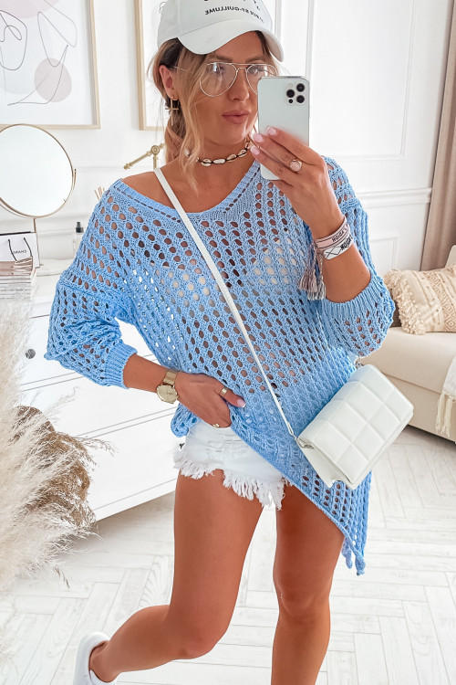 Sweter ASYMETRYCZNY MILANO summer BABY BLUE