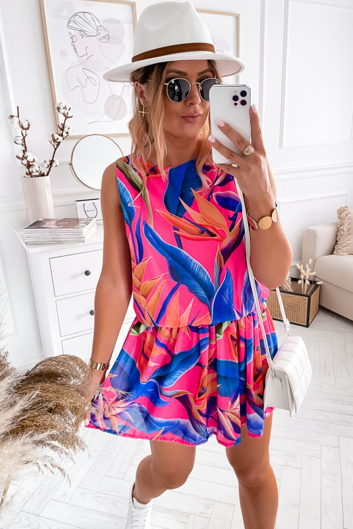 Sukienka SUMMER EXOTIC LOOKA pink and blue