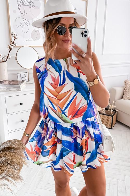 Sukienka SUMMER EXOTIC LOOKA white and blue