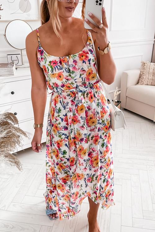 Sukienka asymetryczna PIAZZA PANSIES pudrowa