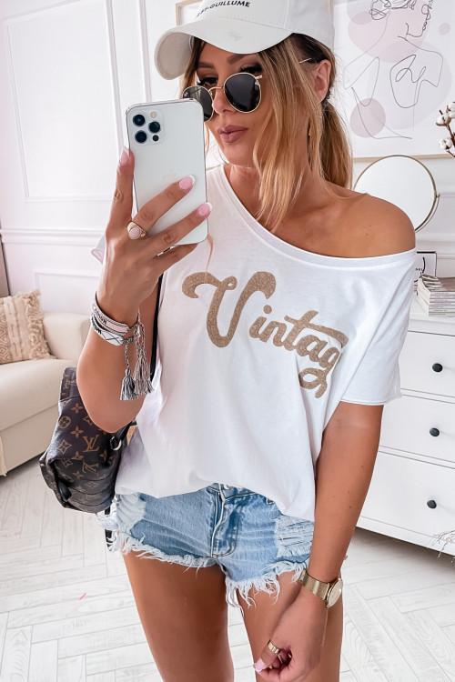 Tshirt VINTAGE LIFESTYLE dekatyzowany WHITE