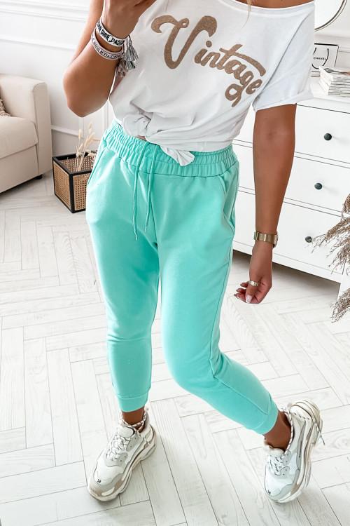 Spodnie dresowe bawełniane MIĘTOWE pumpy