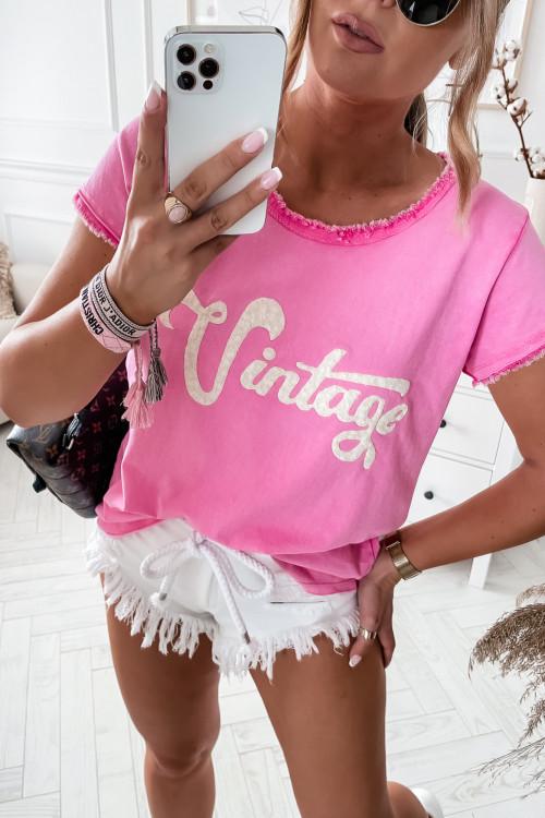 Tshirt DEKATYZOWANY VINTAGE LIFESTYLE ombre pink