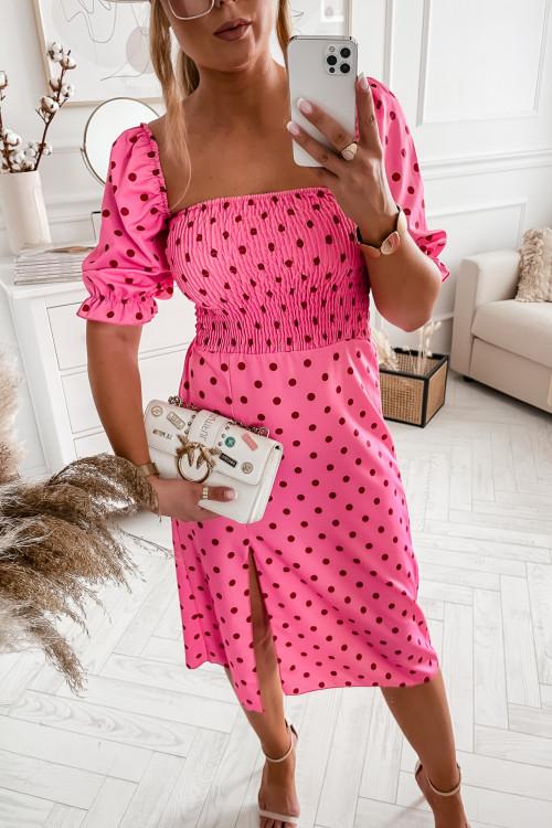 Sukienka POLLA w różowe groszki