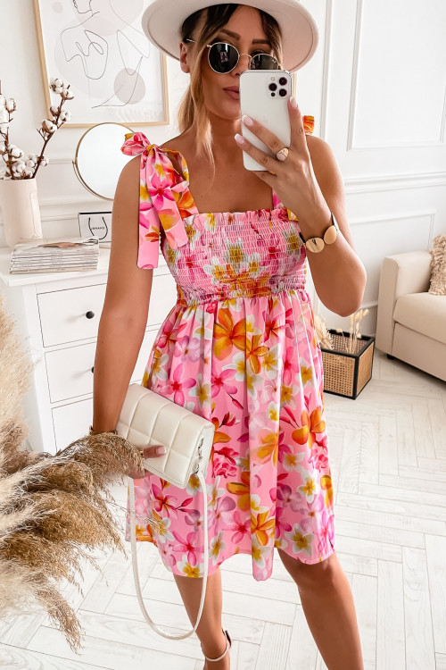Sukienka MORGAN SUMMER z wiązaniem candy pink