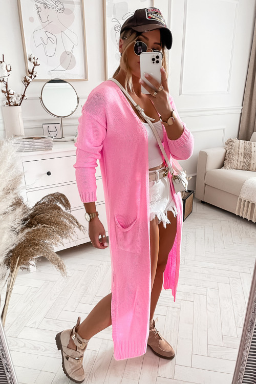 Sweter NARZUTKA MAXI STREETSTYLE CANDY PINK