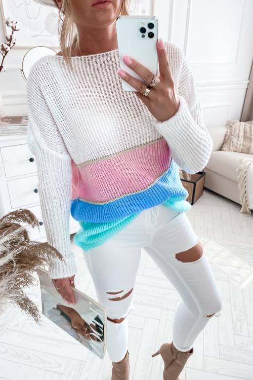 Sweterek DOTTY w pasy KREMOWY