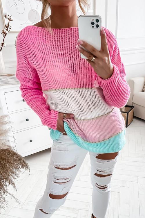 Sweterek DOTTY w pasy CANDY PINK