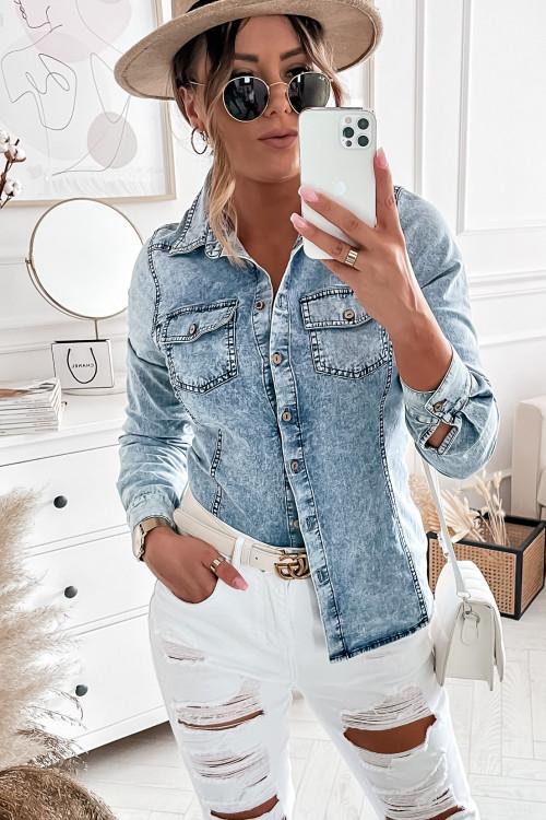 Koszula JEANSOWA dekatyzowany jeans stretch