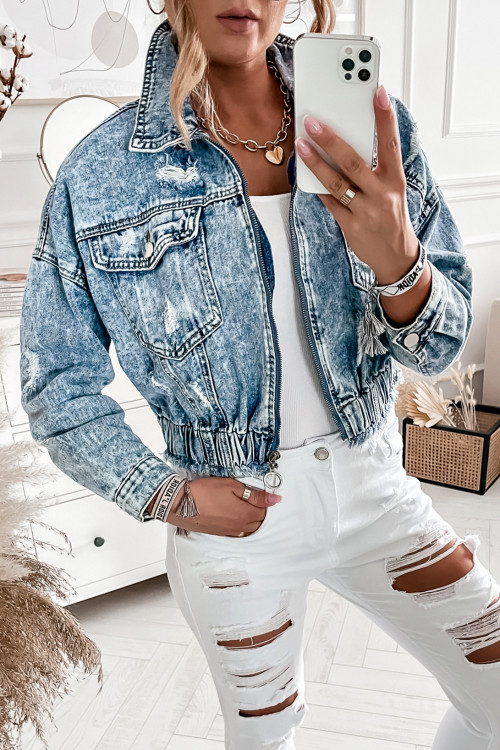 Katana JEANSOWA BOMBERKA ZIPPER denim jasny jeans