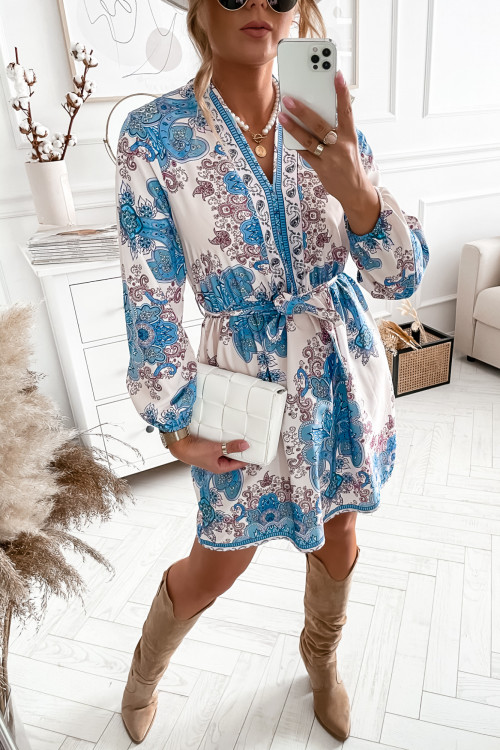 Sukienka BALENNSIO we wzory blue