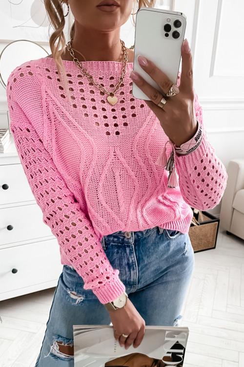 Sweter ażurkowy ARILLA candy pink