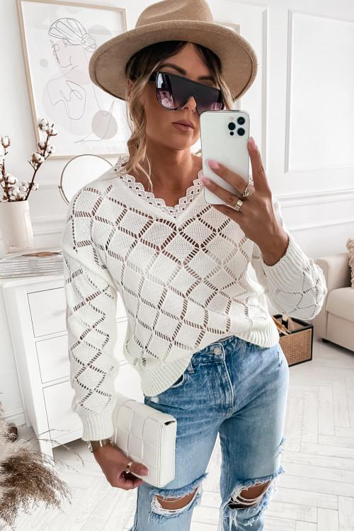 Sweter KHLOE kremowy z koronką
