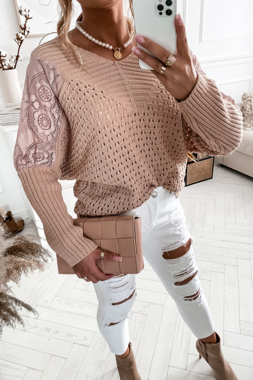 Sweter MODENA z koronkowymi wstawkami PUDER beige