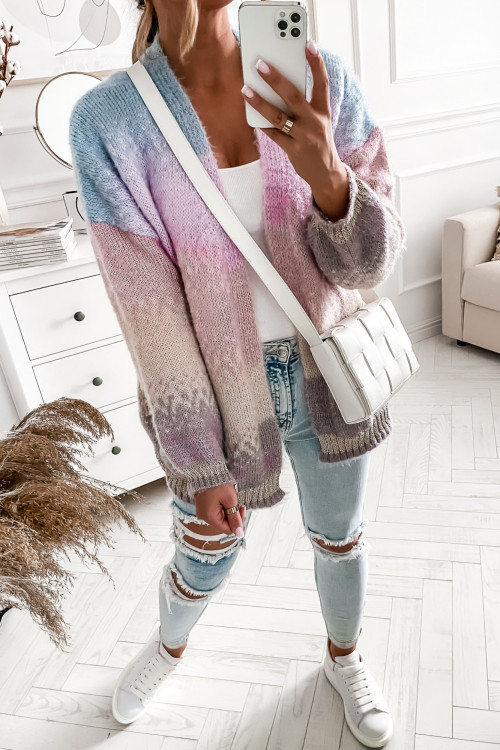 Sweter KARDIGAN FLUFFY NARZUTKA ombre collor