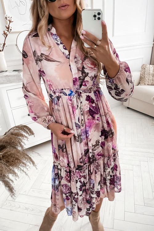 Sukienka FLORIS Pudrowy róż