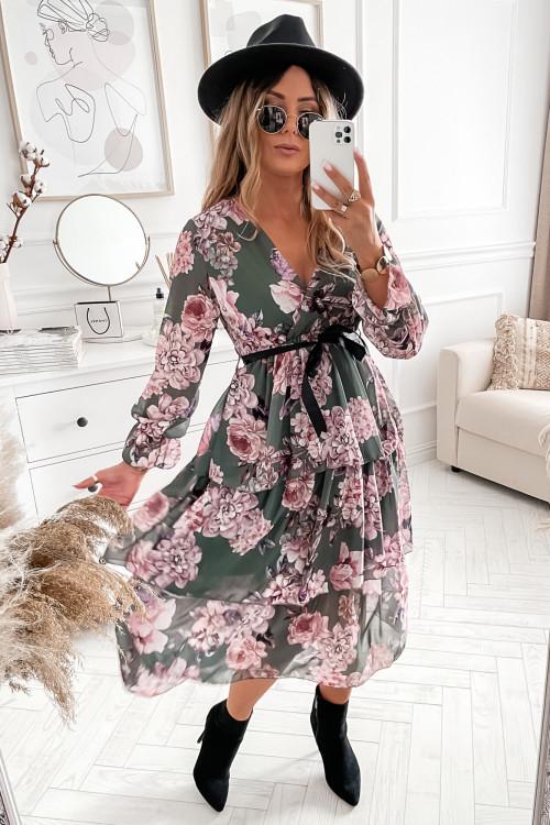 Sukienka MAXI FLOWERS BLACNO khaki