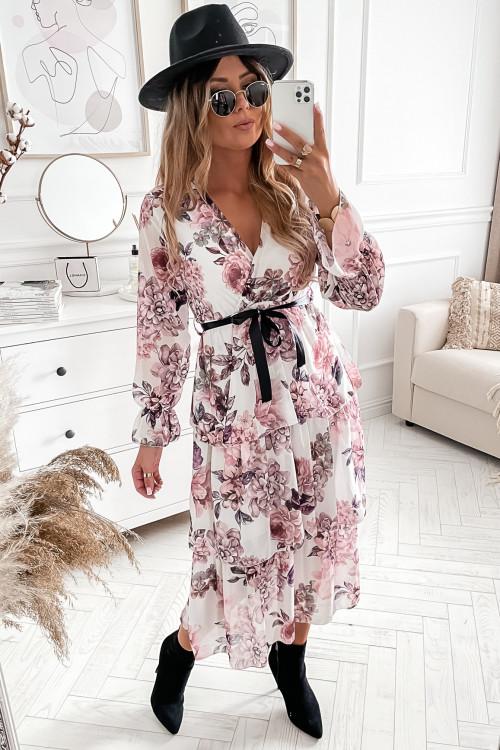 Sukienka MAXI FLOWERS BLACNO white