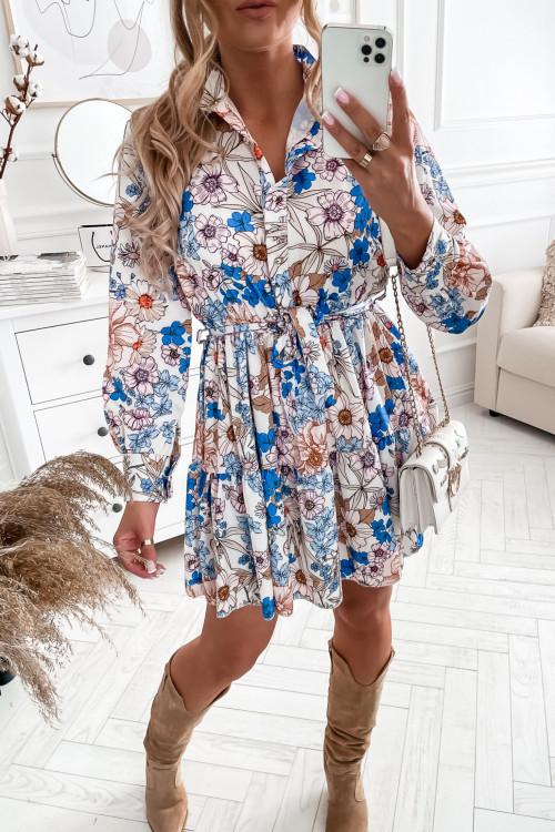 Sukienka HAYETT BEAUTY BLUE FLOWERS