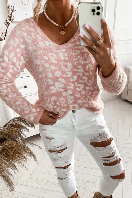 Sweter CLARA PANTHERS fluffy pudrowy róż