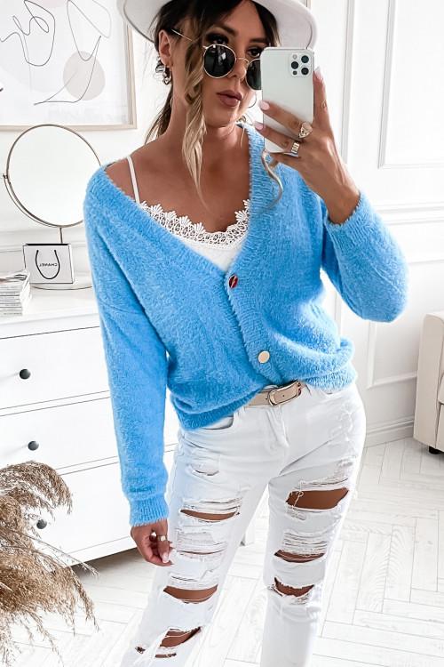 Sweter KARDIGAN ALPAKA baby blue