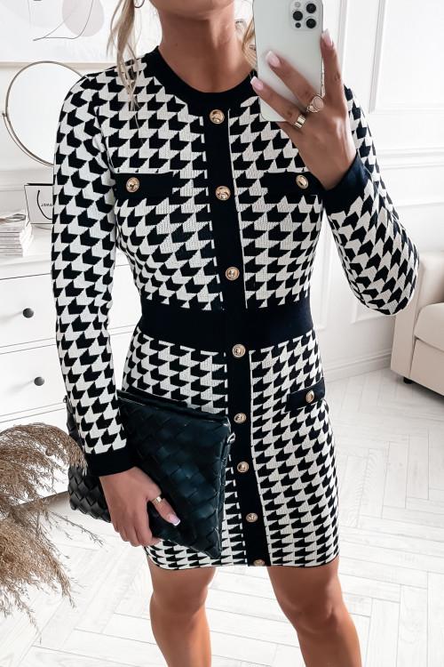 Sukienka BODYCON PRESTIGE black and white