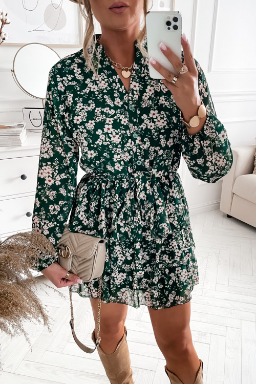Sukienka CHECCKO FLOWERS green