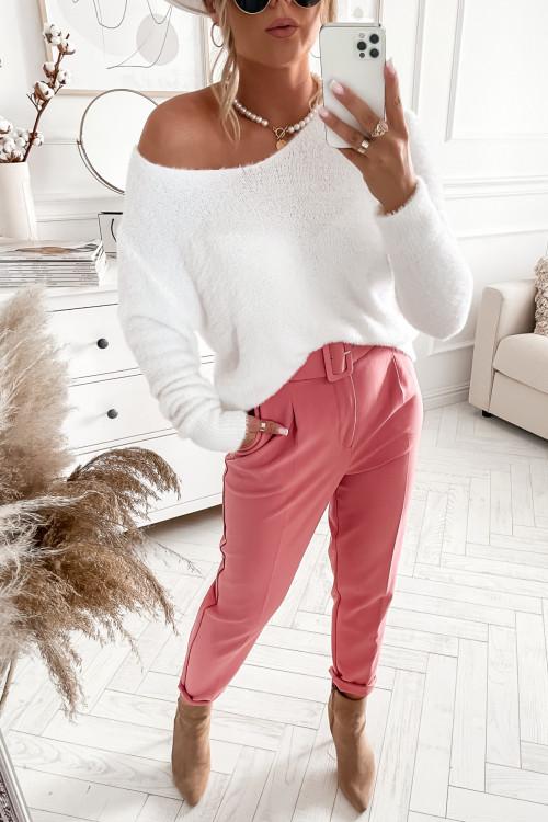 Sweter CLASSIC FLUFFY OFF white v-neck