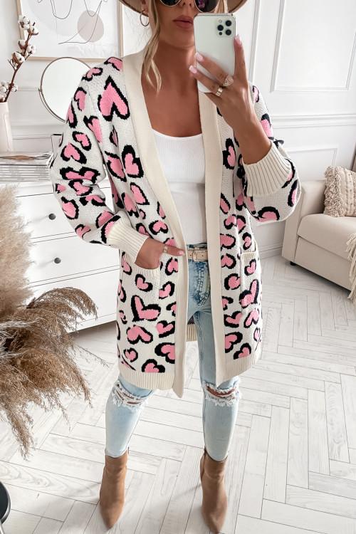 Sweter NARZUTKA w rozowa panterke HIT