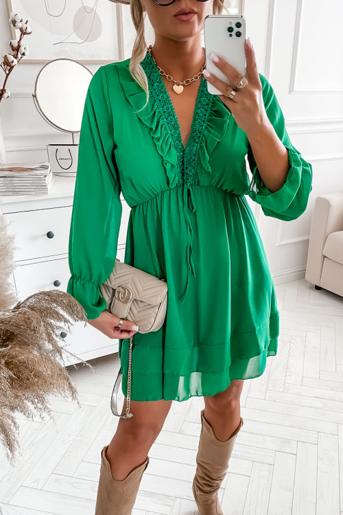 Sukienka VABBENNA GREEN z koronka