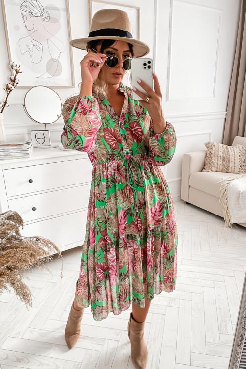 Sukienka VALLERIA FLOWERS MAXI green