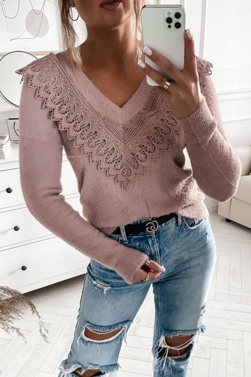 Sweterek z koronką V-NECK Francis pudrowy róż