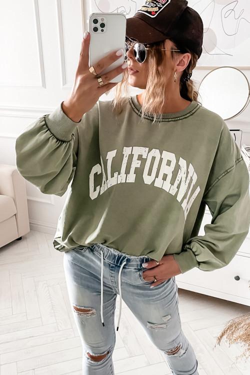Bluza DEKATYZOWANA KHAKI California oversize