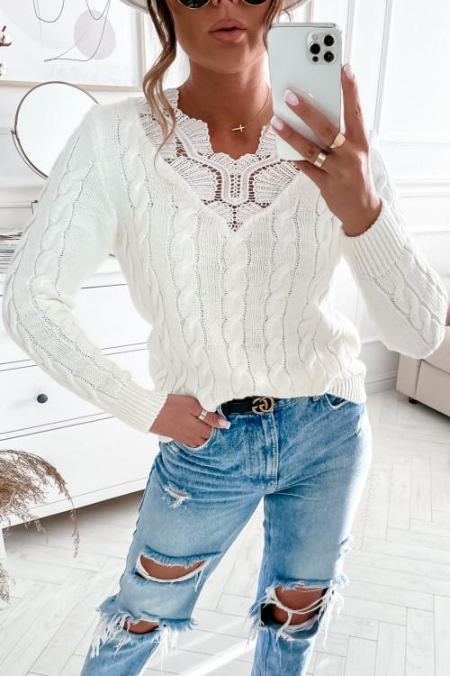 Sweter NISSA elegance koronka WARKOCZ