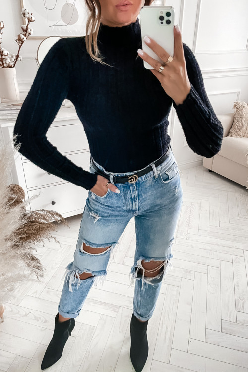 Sweterek BODYCON FLUFFY CLASSIC black