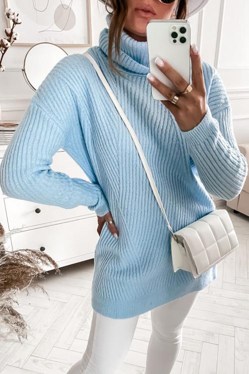 Sweter z golfem OVERSIZOWY baby blue