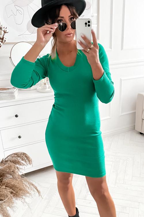 Sukienka BASIC V-NECK GREEN bodycon