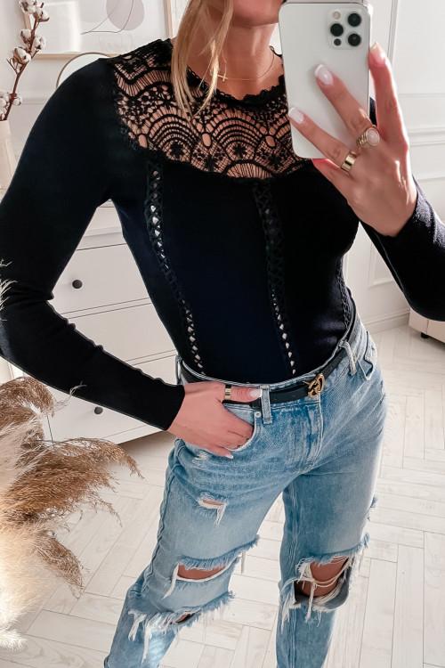 Bluzka sweterkowa VIVIANNE koronka BLACK
