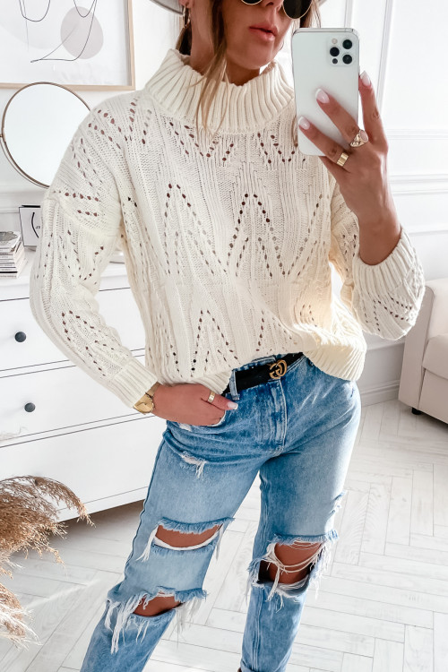 Sweter AŻURKOWY CORDELLUSO kremowy
