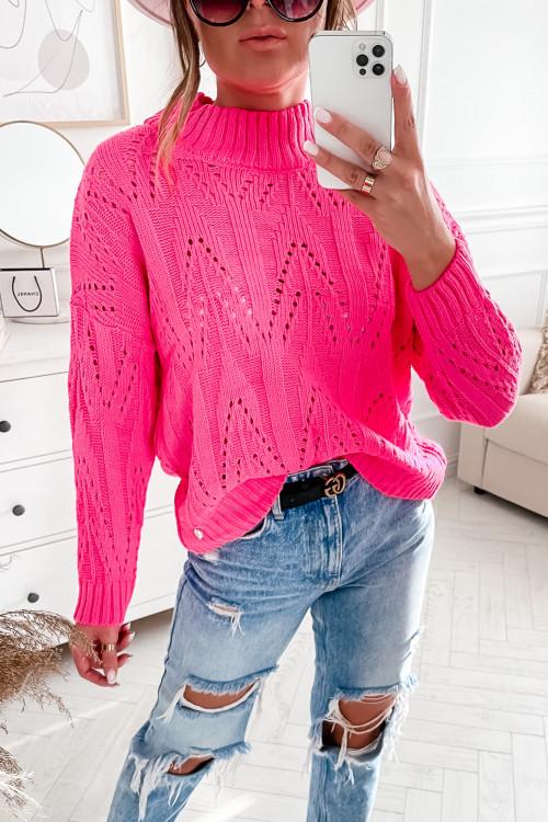 Sweter AŻURKOWY CORDELLUSO fuksja