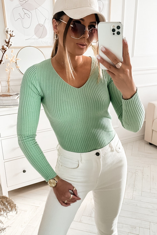 Bluzka sweterkowa MADAMME V-NECK bodycon GREEN