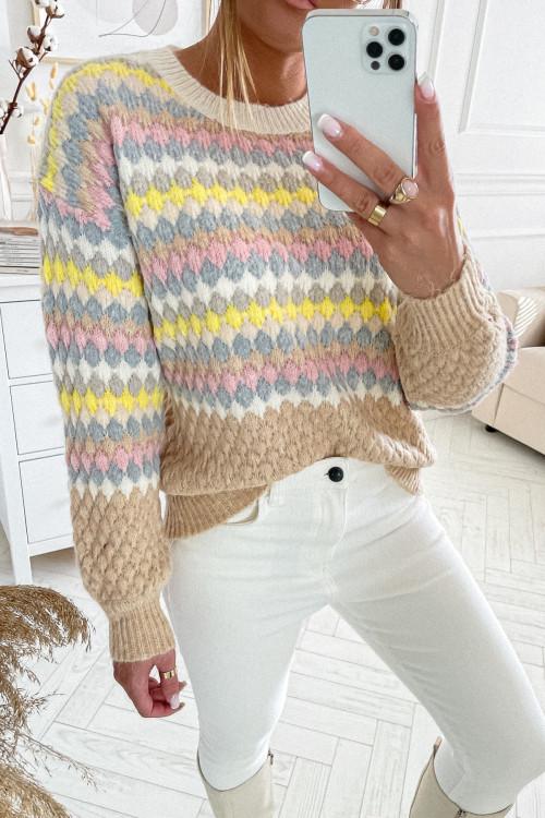 Sweter YASMINNO SMART CASUAL nude beige