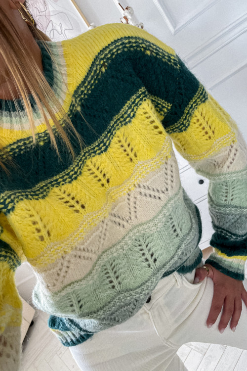 Sweter FANCY AUTUMN green and yellow