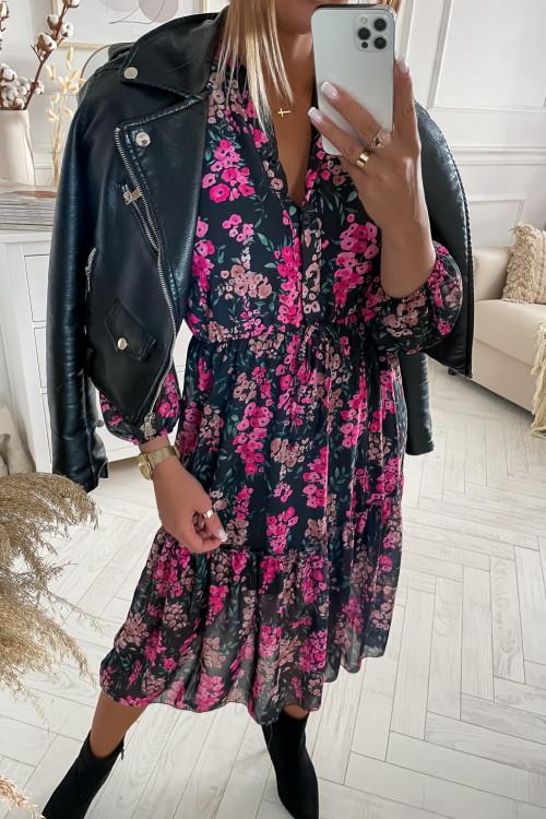 Sukienka FLORIS FLOWERS pink