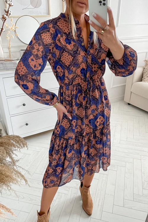 Sukienka FLORIS AZTECK nude beige