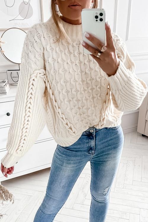 Sweter ROSSETTO PREMIUM z warkoczem łańcuchem