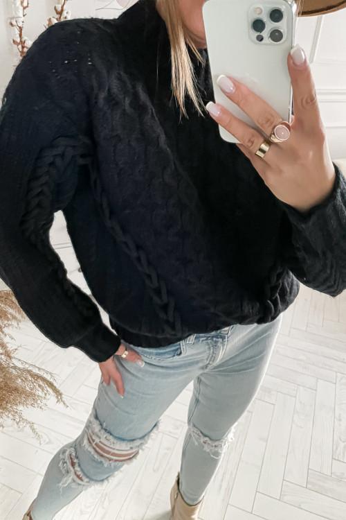 Sweter ROSSETTO PREMIUM z warkoczem łańcuchem BLACK