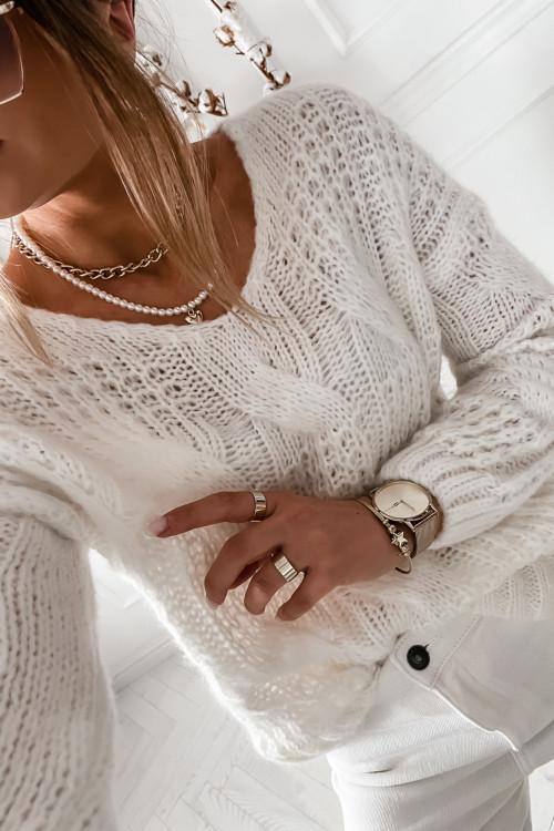 Sweter GRAZZIE WARKOCZ casual wear KREMOWY