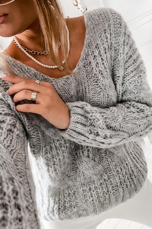 Sweter GRAZZIE WARKOCZ casual wear melange gray