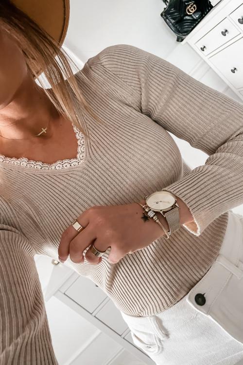 Bluzka SWETERKOWA z koronką PALERMO elegance